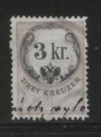 AUSTRIA 1866 REVENUE 3KR ON GREY BLUE PAPER WITH WMK PERF 12.00 X 12.00 BAREFOOT 089 - Fiscaux