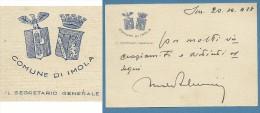 1928 BIGLIETTO COMUNE DI IMOLA IL SEGRETARIO GENERALE - CON DOPPIO STEMMA  - PERIODO FASCISTA - Cartoncini Da Visita
