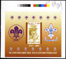 Pérou 2002 Y&T BF 20. Bon à Tirer, Essai Signé, Non Dentelé. 90ième Anniversaire Du Scoutisme Péruvien - Unclassified