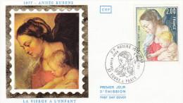 FRANCE,LETTRE,timbre,cachet,FDC,PIERRE PAUL RUBENS,METIER,PEINTRE BAROQUE FLAMAND,PORTRAIT,VIERGE ET ENFANT