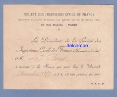 Carte Ancienne - PARIS 9e - Invitation A Une Séance De La Société Des Ingénieurs Civils De France - Voir Recto - 1897 - Tickets D'entrée
