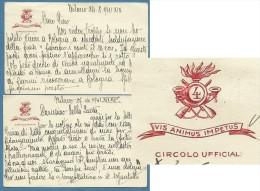 1941 - BIGLIETTI CIRCOLO UFFICIALI 4 BERSAGLIERI CON MOTTO VIS ANIMUS IMPETUS - 2 PEZZI CON SCRITTI INTERESSANTI - Cartoncini Da Visita