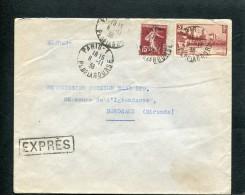 =*= Semeuse 189 + 391 Sur Lettre Exprès Au Tarif Paris Pour Bordeaux 8 Novembre 1938  =*= - Francia