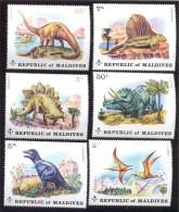 MALDIVES ; MINT N.H. STAMPS ; SCOTT # 389-94 ; IGPC  1972   ( DINOSAURUS ; PREHISTORIC - Maldives (1965-...)