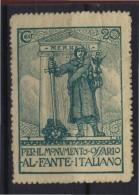 ERINNOFILO  MILITARE - CENT.20 PER IL MONUMENTO OSSARIO AL FANTE ITALIANO - Erinnofilia