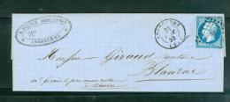 Yvert N°14  Type    / Lsc Oblitéré Petit Chiffres 83  Angoulème EN   Avril   1858   - Lo34310 - Marcofilia (sobres)