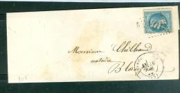 Yvert N°29 / Lsc Oblit Gros Chiffres 105  Angoulème  En  Octo  1868  - Lo34314 - Marcophilie (Lettres)