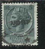 TRIESTE A 1953 1954 AMG - FTT ITALIA ITALY OVERPRINTED SIRACUSANA TURRITA LIRE 5 USATO USED - Gebraucht