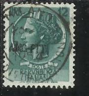 TRIESTE A 1953 1954 AMG - FTT ITALIA ITALY OVERPRINTED SIRACUSANA TURRITA LIRE 12 USATO USED - Gebraucht