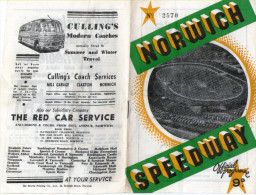 NORWICH SPEEDWAY OFFICIAL PROGRAMME JULY 23RD 1960 - Good Adverts Including Culling's Coaches - Programs