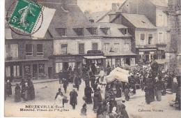 22910 Beuzeville - Le Marché, Place De L'église - Coll Vicomte - Café Restaurant