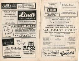 KINGS THEATRE - GLASGOW - WW2 - 1940 - GOOD ADVERTS - AIR RAID WARNINGS - PRESENTING HALF-PAST EIGHT - Programmi