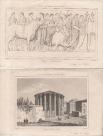 Lo 4 Gravures Italie Rome 1850 Lafont Dot Lemaitre Direxit Sacrifice Temple De Vesta Temple D'Albe Jupiter Stator - Incisioni