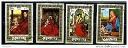 FUJEIRA Set Of 4 Nativity Paintings  Van Eyck, Giorgione, Tietsis  Used - Religious