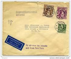SWEDEN Oct 25 1941 Air Letter To The USA St-Bridget Set Of 2 Rare On Letter No Censor Mark Scott 327-8, 310 Michel 277, - Suède