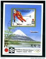 AJMAN   Sapporo Olympic Games Skier And Mt Fuji  Used  Souvenir Sheet - Winter 1972: Sapporo