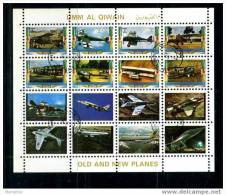 UMM AL QIWAIN  Old And New Planes    Mini Sheet Of 16 Used - Airplanes