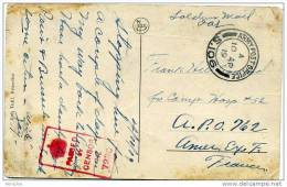 1919 Soldier's Free Mail Brussels Postcard To France Red Boxed «Passed By Censor No 7230» APO S. 106 - 1902-1951 (Kings)