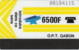 GABON - New O.P.T. Logo, Yellow 6500 F(Big CN-0 With Barred, White Reverse), Used - Gabon