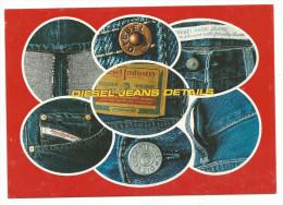 Carte Publicitaire , Jeans Diesel, Détails Boutons Poches, Passants , Dos Imprimé, Dos Imprimé Non Datée - Moda