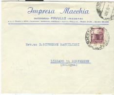 IMPRESA MACCHIA, PAVULLO, MODENA, BUSTA COMMERCIALE VIAGGIATA  1950, PER LIZZANO  IN BELVEDERE, - Documentos Históricos