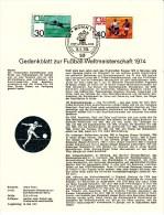 FUSSBALL-FOOTBALL-SOCCER- CALCIO, Western Germany, 1974, Commemorative Sheet / Special Postmark !! - Fußball-Weltmeisterschaft