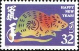 1996 USA Chinese New Year Zodiac Stamp - Rat Mouse #3060 - Knaagdieren