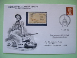 Great Britain 1992 Special Cover World War II 50 Anniversary - Machin Church El Alamein Egypt Armored Vehicles Soldie... - Seconda Guerra Mondiale