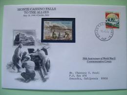 Italy 1994 Special Cover World War II 50 Anniversary - Castle Guyana Soldiers Monte Cassino Cannon Uniforms - Seconda Guerra Mondiale