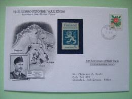 Finland 1994 Special Cover World War II 50 Anniversary - Flower Rose Lion Map - Seconda Guerra Mondiale