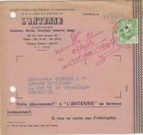 GANDON 5F SUR CARTE ABONNEMENT L ANTENNE QUOTIDIEN MARSEILLE 22/11/50 - Advertising