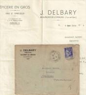 PAIX 90C SUR ENV COM J.DELBARY+LETTRE 10/6/39 BEAUMONT DE LOMAGNE +VERSO CACHET TIRETE D ARRIVEE - Advertising