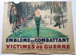 1/2 AFFICHE EMBLEME DU COMBATTANT ET DES VICTIMES DE GUERRE SIGNEE R. BRECHENMACHER APRES GUERRE 39 45  WW2  FLAMME - Plakate