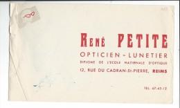 BUVARD: Opticien, René Petite à Reims - Blotters