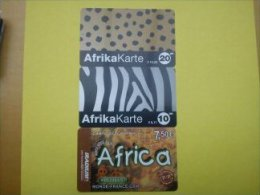 3 Prepaidcards Thematique Africa Used - Phonecards