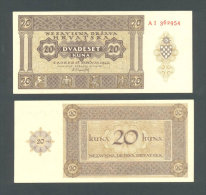 CROATIA - CROACIA, Top UNC!  20 Kuna 1944 * WORLD WAR II * USTASA * NDH * VERY RARE BANKNOTE ! - Croatia