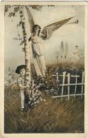 AK ENGEL ANGEL Engel Mit Trompeten Und Jungen  OLD POSTCARD 1927 - Anges