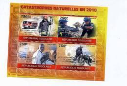 Tremblements De Terre-Croix Rouge-chien-pompier-Togo- MI 3574/7***MNH - Croix-Rouge