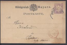 ALLEMAGNE - 1880 -  BAYERN -  CARTE ENTIER POSTAL DE PIRMASEN POUR REIMS - FR - - Bavière