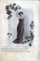 AK MATERIALKARTEN Mädchen Mit Weißen Perlen Und Blumen Und Die Texte Von, GEPRÄGT  OLD POSTCARD VOR 1904 - Cartes Postales