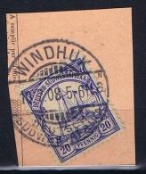 Deutsche Post In Südwestafrika Windhuk  10-7-1908 Mi 14 Voll-Stempel Auf Briefstück - Kolonie: Deutsch-Südwestafrika