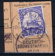 Deutsche Post In Südwestafrika Usakos  10-12-12 Mi 27 Voll-Stempel Auf Briefstück - Kolonie: Deutsch-Südwestafrika
