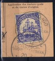 Deutsche Post In Südwestafrika  OTJIWARONGO 20-8-12 Mi 27 Voll-Stempel Auf Briefstück - Kolonie: Deutsch-Südwestafrika