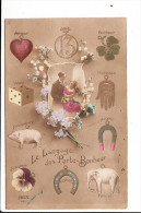 Carte  Fantaisie  Avec Le Langage Des Porte Bonheur  COCHON 13 Trèfle Fer à Cheval éléphant Dès  ( Recto Verso ) - Holidays & Celebrations