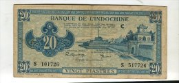 Billet 20 Piastre Indochine Bleu - Indocina