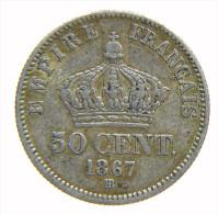 FRANCIA - 50 CENT. Napoléon III,tête Laurée En Argent 1867 BB - Francia