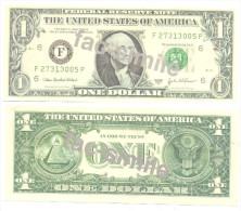 ONE DOLAR FAC-SIMILE PHANTASY BANKNOTE  Year 2003 - Abarten