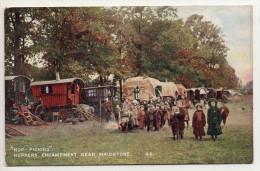 Hop-picking, Hoppers Encampment Near Maidstone, N° 49 (horse-drawn Caravans, Ceuillette Du Houblon, Roulottes, Enfants) - Inglaterra