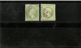 FRANCE N°20 DEUX NUANCES  OBLITERATION PETIT CACHET A DATE ET LOSANGE   1862 - 1862 Napoleone III