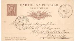 CARTOLINA POSTALE 10C CON  ANNULLI SUBIACO E PKXP. No. 2 B. UTR - 1878-00 Umberto I